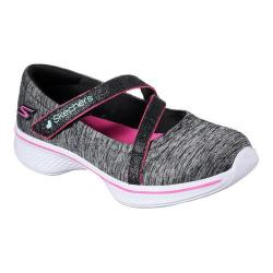 Girls' Skechers GOwalk 4 Jersey Gems Mary Jane Sneaker Black/Hot Pink