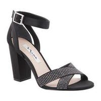 Women's Nina Shelly Ankle-Strap Sandal Black Luster Satin