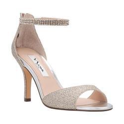 Women's Nina Vierra Ankle Strap Sandal Soft Platino Diamond Glitter Mesh