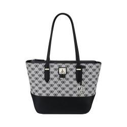 Women's Nine West Reana Medium Locket Tote Handbag Black/White/Black