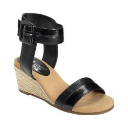 Women's Aerosoles Spa Day Ankle Strap Wedge Sandal Black Combo Faux Leather
