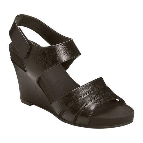 e80f8109e6be Shop Women s A2 by Aerosoles Plush Day Quarter Strap Wedge Sandal Black  Faux Leather - Free Shipping On Orders Over  45 - Overstock.com - 15403948