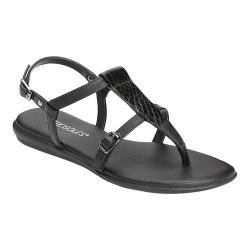 Women's Aerosoles Obstachle Course T Strap Sandal Black Snake Printed Faux  Leather