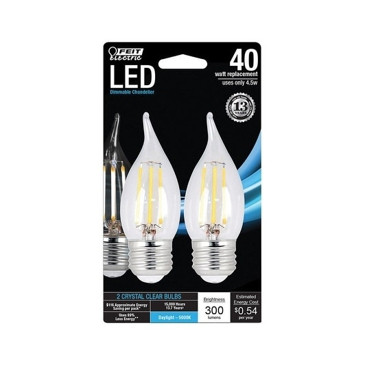 FEIT Electric Performance LED Bulb 4 5 watts 300 lumens 5000 K Chandelier  Flame Tip Daylight 40 watts equivalency