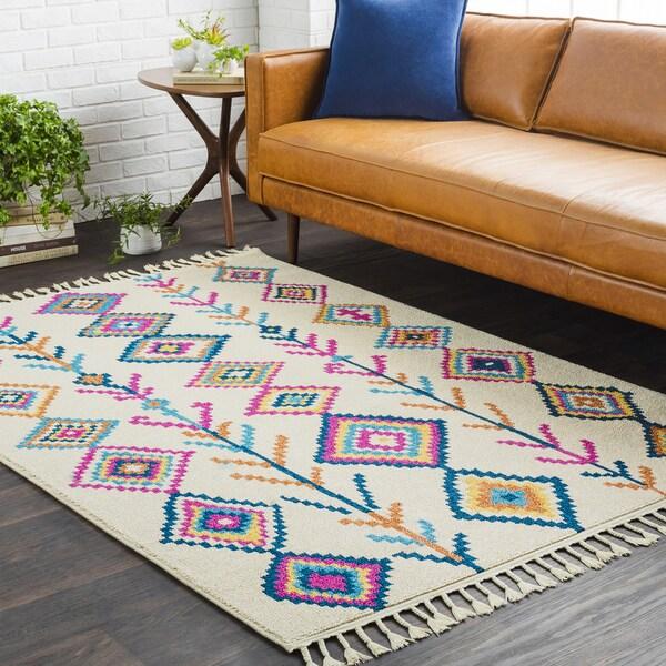 Boho Moroccan Multicolored Tassled Area Rug (9'3 x 12'1)