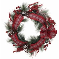 Transpac 24-Inch Faux Pine Wreath with Red and White Bow