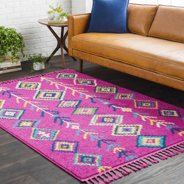 Boho Moroccan Tassel Pink/ Blue Area Rug - 9'3 x 12'1