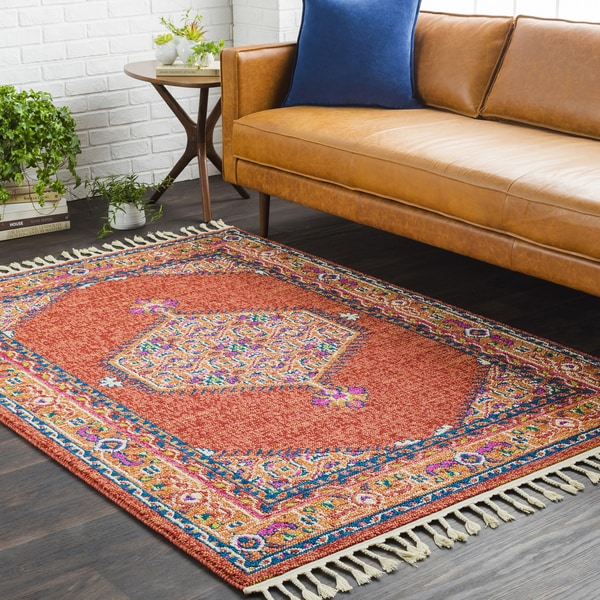 "Boho Persian Tassel Khaki/ Red Area Rug - 9'3"" x 12'1"""