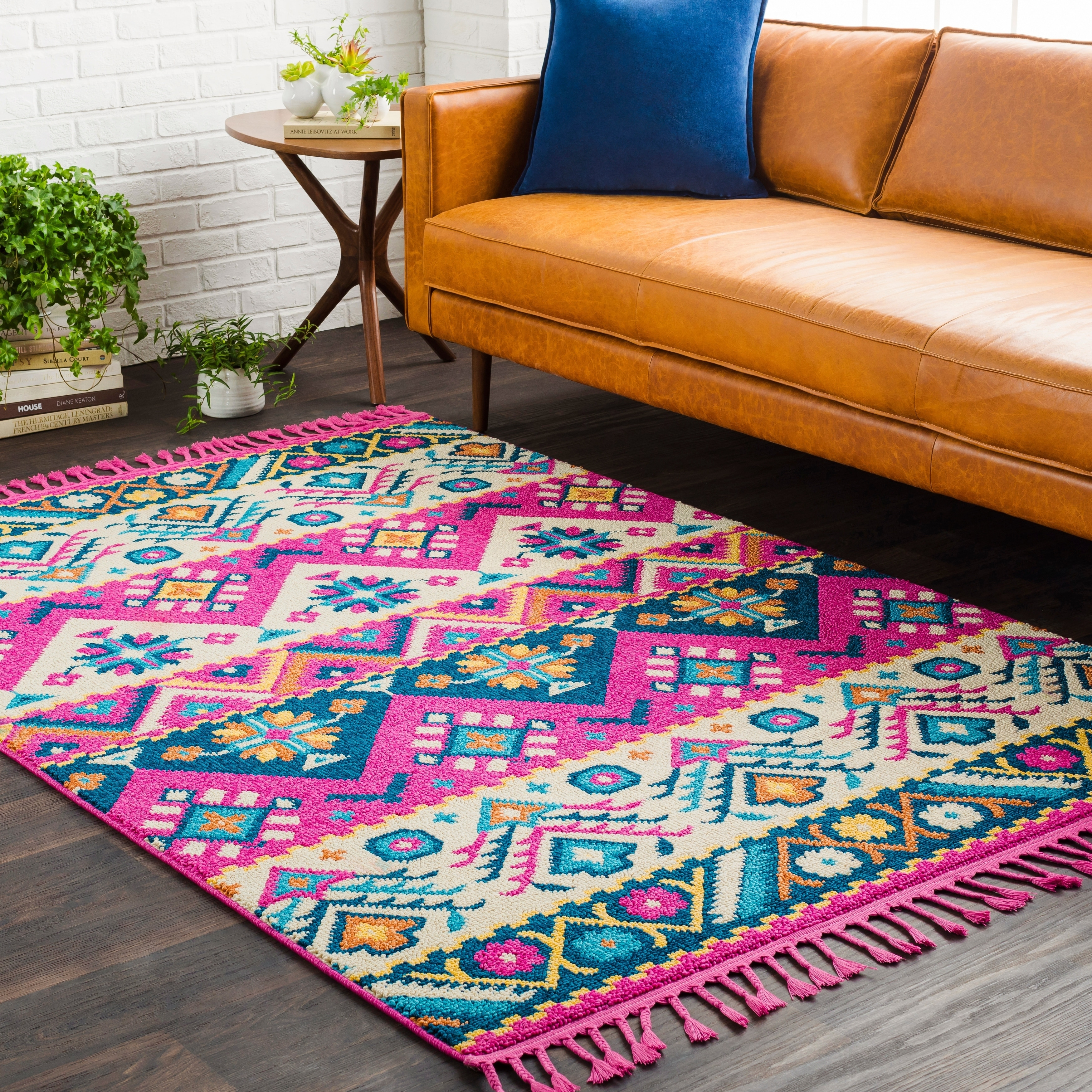 Picture of: Boho Bright Pink Blue Southwestern Tassel Area Rug 9 3 X 12 1 9 3 X 12 1 On Sale Overstock 18100074