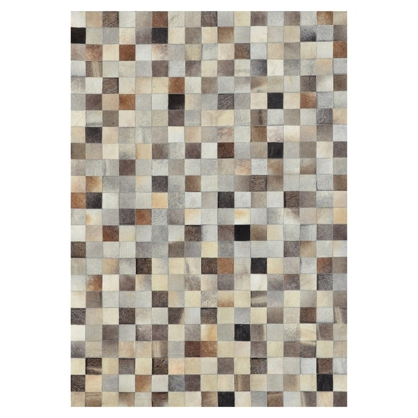 Kavka Designs Hand Sched Patchwork Grey Blocks Cowhide Rug 5 X27 X 7