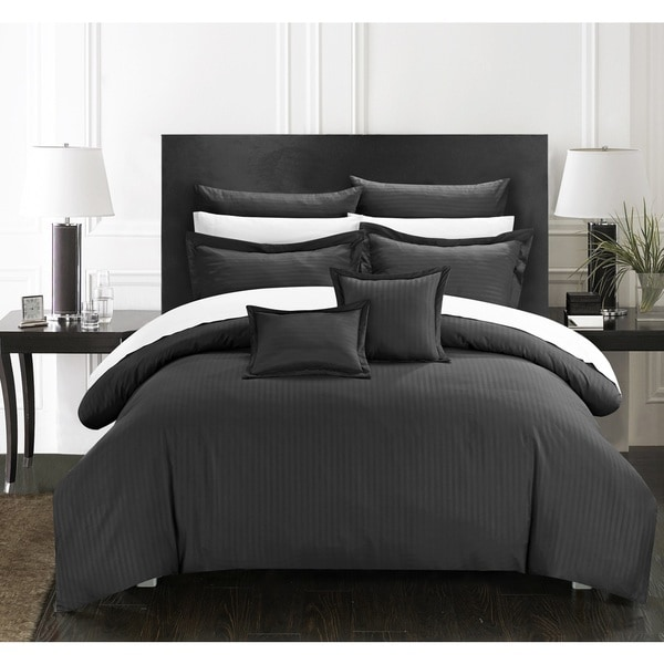 Chic Home Kesha Jacquard Black Striped Embossed 11-Piece Down Alternative Comforter Set Bed in a Bag