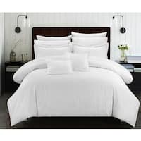 Chic Home Kesha Jacquard White Striped Embossed 11-Piece Down Alternative Comforter Set Bed in a Bag