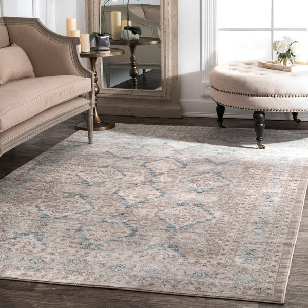 nuLoom Traditional Ornamental Diamonds Taupe Rug - 10' x 14'