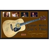 Crosby Stills Nash & Young Signed Guitar Custom Framed
