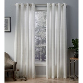 ATI Home Whitby Metallic Grommet Top Curtain Panel Pair (54X84 - Winter White)