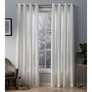 ATI Home Whitby Metallic Grommet Top Curtain Panel Pair (54X108 - Winter White)