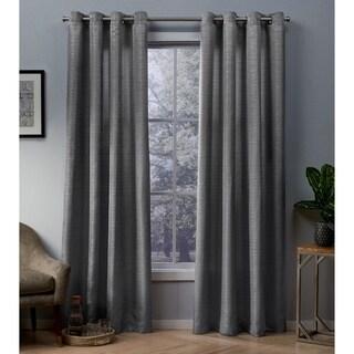 ATI Home Whitby Metallic Grommet Top Curtain Panel Pair (54X108 - Black Pearl)