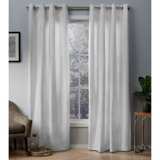 ATI Home Whitby Metallic Grommet Top Curtain Panel Pair (54X96 - winter white, gold)