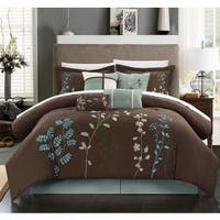 Chic Home Nits 12-Piece Brown Embroidered Floral 12 Piece Comforter Bed in a Bag