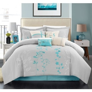Chic Home Nits 12-Piece Turquoise Embroidered Floral 12 Piece Comforter Bed in a Bag