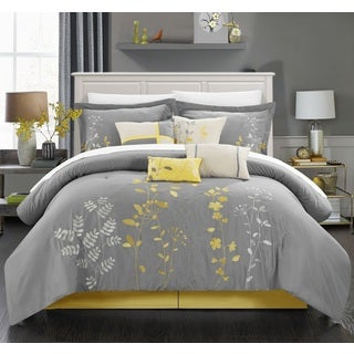 Chic Home Nits Grey and Yellow Embroidered Floral 12 Piece Comforter Bed in a Bag