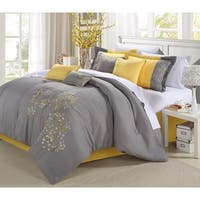 Chic Home Shea 12-Piece Yellow Embroidered Floral Comforter Set Bed in a Bag