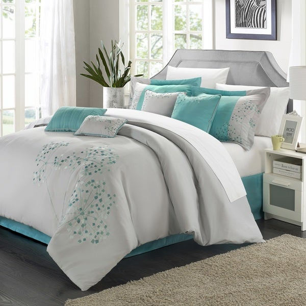 Chic Home Shea 12-Piece Grey and Turquoise Embroidered Floral Comforter Set Bed in a Bag