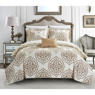 Chic Home Froilan 4-Piece Reversible Beige Two-Toned Medallion Duvet Cover Set