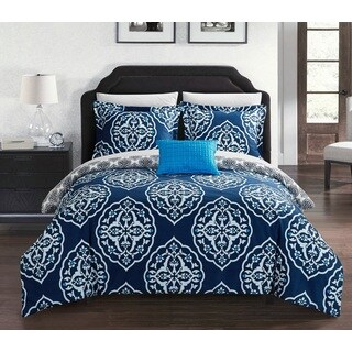 Chic Home Froilan 4-Piece Reversible Navy Two-Toned Medallion Duvet Cover Set