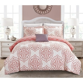Chic Home Froilan 4-Piece Reversible Coral Two-Toned Medallion Duvet Cover Set