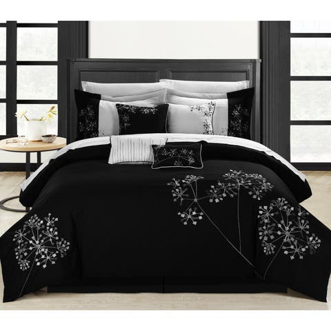 Chic Home Shea 12-Piece Black and White Embroidered Floral Comforter Set Bed in a Bag