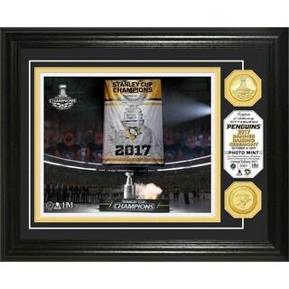 Pittsburgh Penguins 2017 Champions Banner Raising Photo Mint