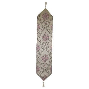 Elegant Table runner, beige with pink flowers, 60x13