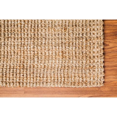 "Jani Sahara Boucle Weave Natural Jute Handwoven Runner Rug - 2'6"" x 12'"