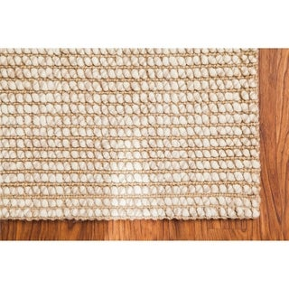 Jani Lhasa Ribbed Loop Wool and Jute Runner Rug - 2'6 x 12'