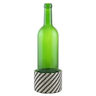 "Decorated Wine bottle Coaster, checkered silver and black squares, 4""X2.75"""