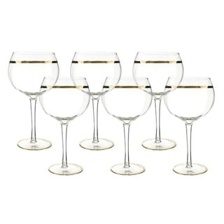"""6-Pc set of 8.5"""" wine glass with gold rim decoration"""