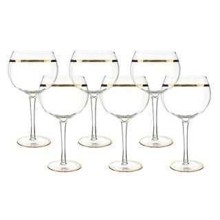 "6-Pc set of 8.5"" wine glass with gold rim decoration"