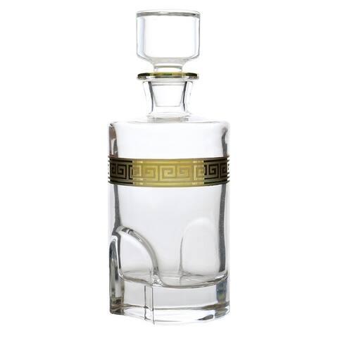 "9"" round liquor bottle / decanter with gold greek key decoration"
