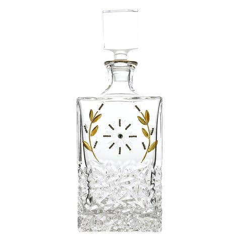 """12"""" rectangular bottle / decanter with gold and crystal decoration"""
