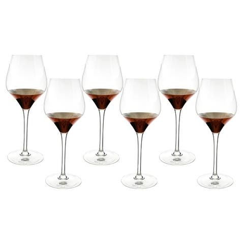 "6-Pc set of 9.5"" wine glass, copper decoration"