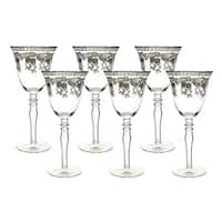 """6-Pc set of 8"""" wine glass with silver floral decoration"""