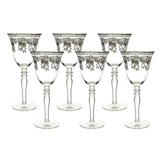 "6-Pc set of 8"" wine glass with silver floral decoration"