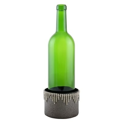 """Decorated Wine bottle Coaster, silver with crystal strands, 4""""X2.75"""""""