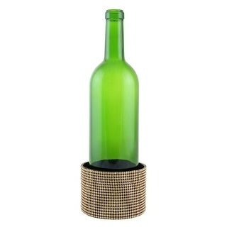 "Decorated Wine bottle Coaster, golden crystal strips, 4""X2.75"""