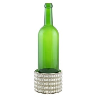 "Decorated Wine bottle Coaster, pearl strips, 4""X2.75"""