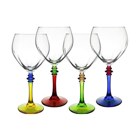 "4-Pc set of multicolor 8"" Italian wine glass"