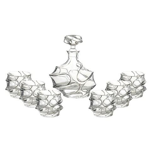 7-Pc set of liquor bottle and D.O.F. glasses in platinum decoration