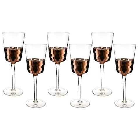 "6-Pc set of 9"" wine glass with copper fish scale design"