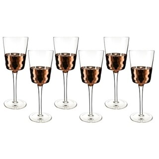 "6-Pc set of 9"" wine glass with copper fish scale design"